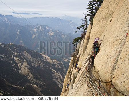 Huashan Mountain Near Xian City. The Most Dangerous Trail And Crowned People In China. Mount Hua Is