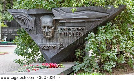 Moscow, Russia - September 15, 2016: Tombstone Of A. N. Tupolev At Moscow Cemetery.