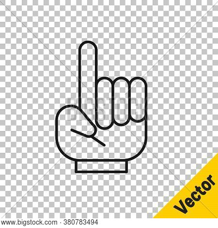 Black Line Number 1 One Fan Hand Glove With Finger Raised Icon Isolated On Transparent Background. S