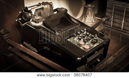 vintage calculator sepia toning