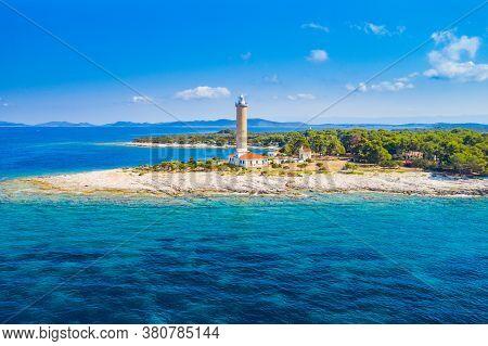 Amazing Adriatic Coastline In Croatia, Aerial View Of Old Lighthouse Of Veli Rat On The Island Of Du