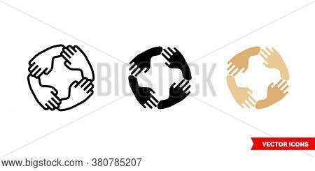 Unity Icon Of 3 Types Color, Black And White, Outline. Isolated Vector Sign Symbol.