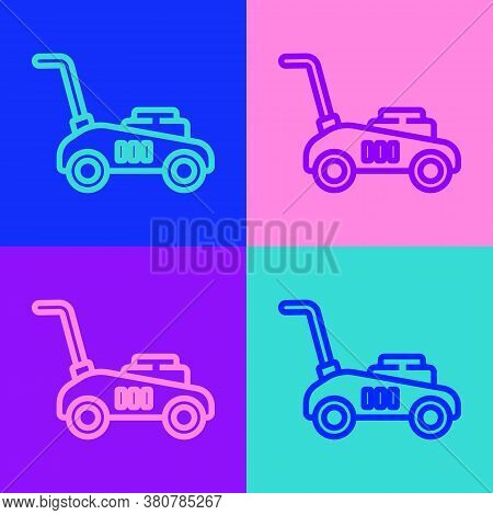 Pop Art Line Lawn Mower Icon Isolated On Color Background. Lawn Mower Cutting Grass. Vector Illustra