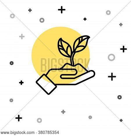 Black Line Plant In Hand Of Environmental Protection Icon Isolated On White Background. Seed And See