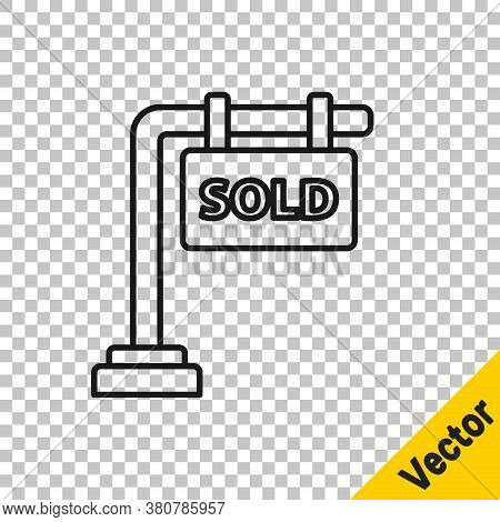 Black Line Hanging Sign With Text Sold Icon Isolated On Transparent Background. Sold Sticker. Sold S