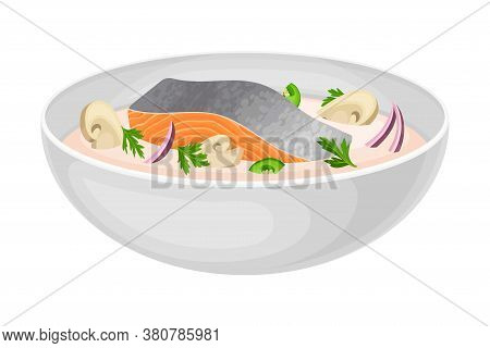 Thick Creamy Soup With Salmon Slab And Mushrooms As Seafood Dish Vector Illustration