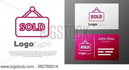 Logotype Line Hanging Sign With Text Sold Icon Isolated On White Background. Sold Sticker. Sold Sign