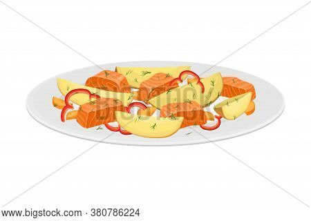 Salmon Slabs With Vegetables As Seafood Dish Vector Illustration