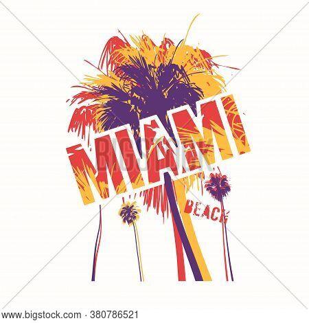 Miami Beach Colorful Vector Graphic T-shirt Design, Poster, Print