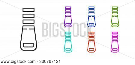Black Line Zipper Icon Isolated On White Background. Set Icons Colorful. Vector Illustration