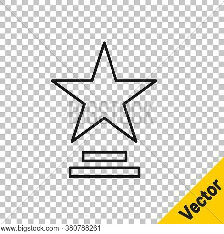 Black Line Movie Trophy Icon Isolated On Transparent Background. Academy Award Icon. Films And Cinem