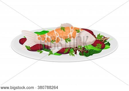 Fish With Sliced Beet And Leafy Vegetables As Seafood Dish Vector Illustration