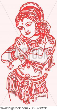 Drawing Or Sketch Of Indian Traditional Dressed Lady Doing Namaste Outline Editable Vector Illustrat
