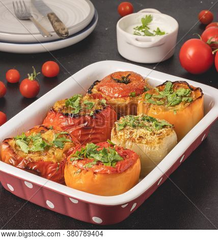 Colored Stuffed Peppers With Potato, Carrot, Garlic, Onion And Parsley. Healthy Mediterranean Food A