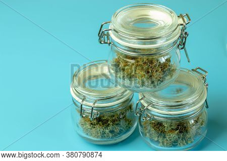 Medical Marijuana Legal Drug Use In Healthcare. Cannabis Treatment Of Depression And Anxiety, Blue B