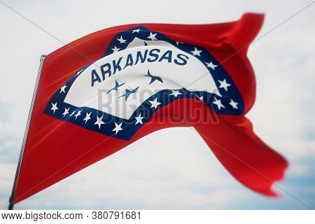 Flags Of The States Of Usa. State Of Arkansas Flag. 3d Illustration. United States Of America States