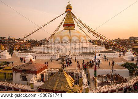 Kathmandu, Nepal : October-17-2018 : Panorama View Of Boudhanath Stupa The Largest Stupas In The Wor