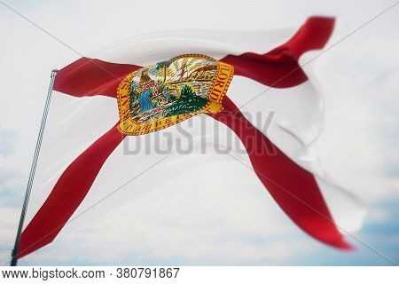 Flags Of The States Of Usa. State Of Florida Flag. 3d Illustration. United States Of America States