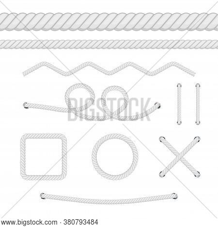 Set Of Different Thickness Ropes Isolated On White. Vector Illustration.