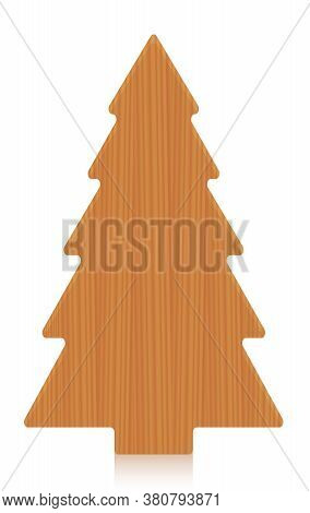 Wooden Tree, Cut Out Of A Board - Conifer, Fir, Spruce - Simple, Rustic Carpentry Timber Decor Model