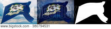 Flags Of The States Of Usa. State Of Connecticut Flag. 3d Illustration. Set Of 2 Flags And Alpha Mat