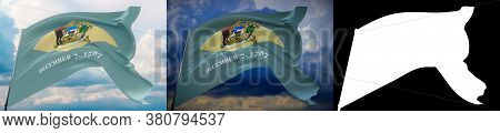 Flags Of The States Of Usa. State Of Delaware Flag. 3d Illustration. Set Of 2 Flags And Alpha Matte