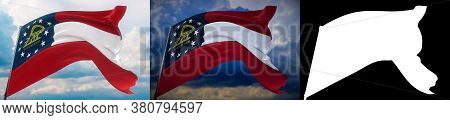 Flags Of The States Of Usa. State Of Georgia Flag. 3d Illustration. Set Of 2 Flags And Alpha Matte I