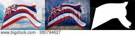 Flags Of The States Of Usa. State Of Hawaii Flag. 3d Illustration. Set Of 2 Flags And Alpha Matte Im