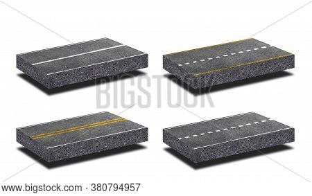 Side View Of Asphalt Straight Street Road Way Of Lanes With Lines Isolated On White Background. (cli