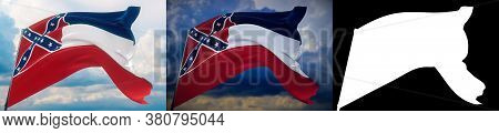 Flags Of The States Of Usa. State Of Mississippi Flag. 3d Illustration. Set Of 2 Flags And Alpha Mat