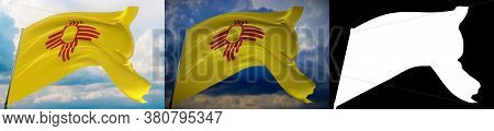 Flags Of The States Of Usa. State Of New Mexico Flag. 3d Illustration. Set Of 2 Flags And Alpha Matt