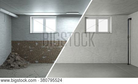 Rehabilitation and renovation of masonry in an old cellar 3D Rendering