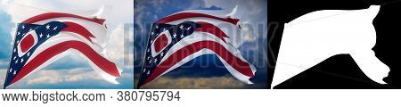 Flags Of The States Of Usa. State Of Ohio Flag. 3d Illustration. Set Of 2 Flags And Alpha Matte Imag