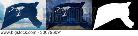 Flags Of The States Of Usa. State Of South Carolina Flag. 3d Illustration. Set Of 2 Flags And Alpha