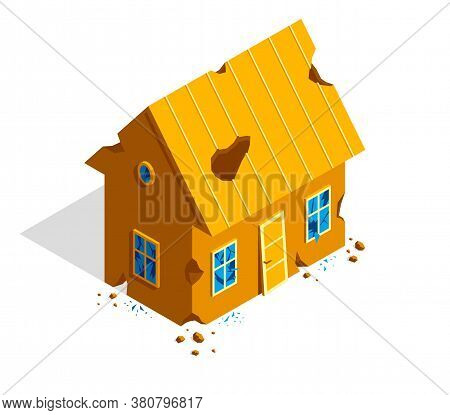 Destroyed Small Cottage Family House Vector 3d Isometric Illustration Isolated On White, Ruined Old