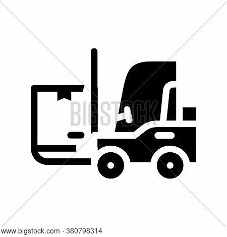 Warehouse Loader With Box Glyph Icon Vector Illustration