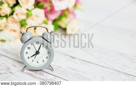 Cozy Morning. Mothers Day Greeting Flower Card. Bouquet Of Flowers And Alarm Clock. Good Morning. Cr