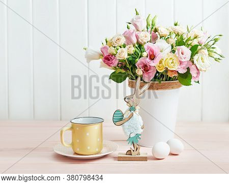 Happy Easter Floral Bunny Greeting Card. Easter Table With Eggs, Rabbit And Flowers. Bouquet Of Rose
