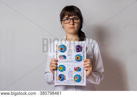 07.25.2020, Zarorizhzhya, Ukraine. Doctor Ophthalmologist Holds A Corneal Topography Examination For