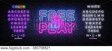Free To Play Neon Text Vector. Play Game Neon Sign, Design Template, Modern Trend Design, Night Sign