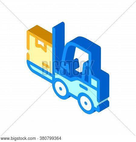 Warehouse Loader With Box Isometric Icon Vector Illustration