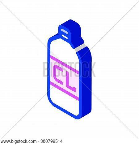 Chlorine Bottle Isometric Icon Vector Isolated Illustration