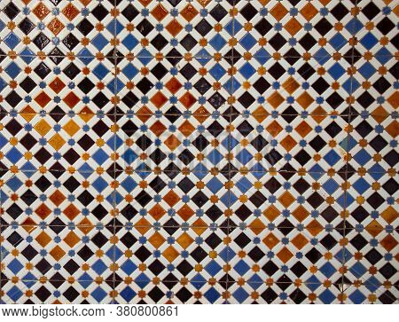 Azulejo Background. Azulejo Is A Typical Ornament Of Portuguese And Spanish Architecture. Azulejo Is