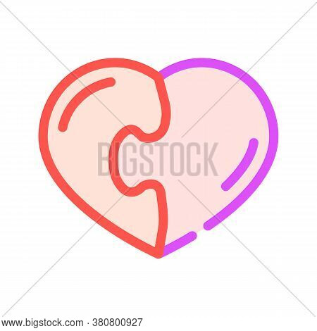 Heart Found Soul Mate Color Icon Vector Illustration