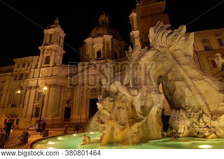 Rome, Italy - November 20: Night View Of The Famous Piazza Navona Square In Rome With The Wonderful
