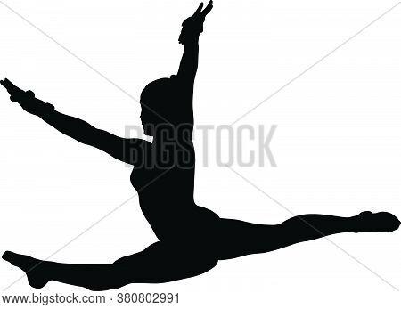Girl Gymnast Doing Jump Split Leap Black Silhouette