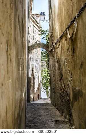 Narrow Streets And Alleys Of The Historical Old Town Of Caceres, Extremadura, Spain.