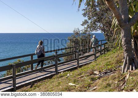 Byron Bay, Australia - June 1, 2016: A Wooden Pathway Near The Seashore