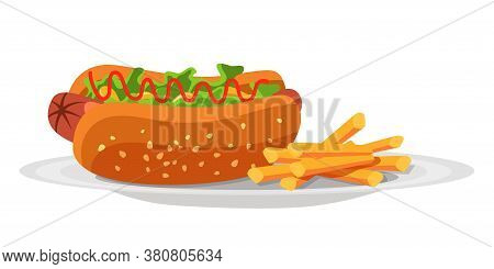 Delicious Hotdog Sandwich Snack With Sausage, Salad Leaves, Ketchup And French Fries Potato On Plate