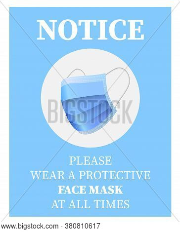 Please Wear A Face Mask Sign Or Sticker With Blue Protective Face Mask Symbol Vector Illustration